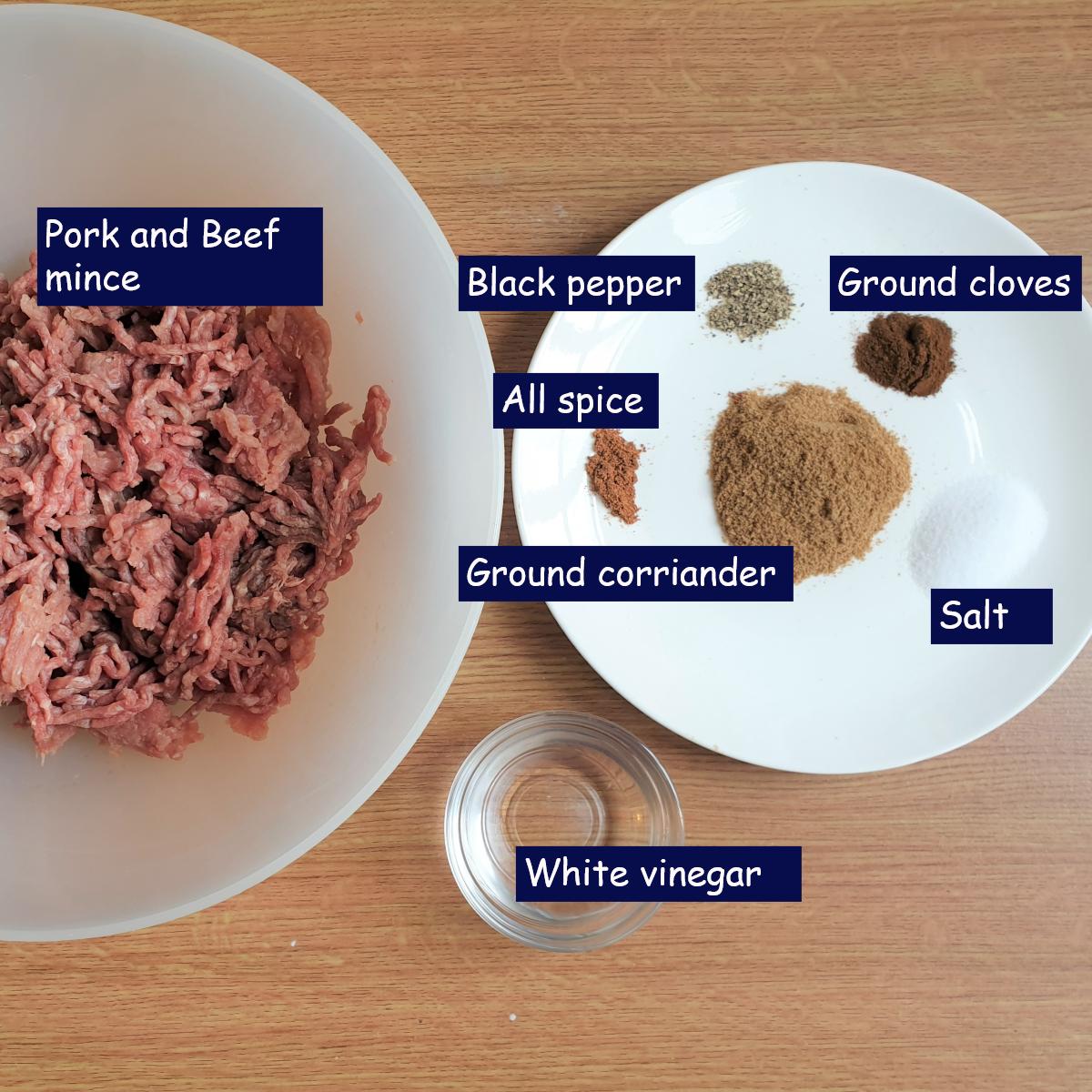 Ingredients for boerewors patties.