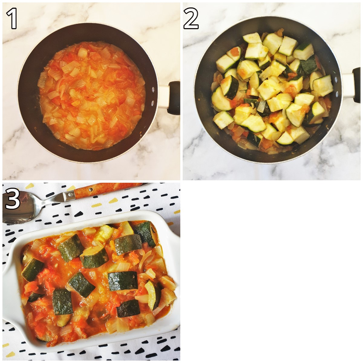 Steps for making baby marrows with tomato and onions.