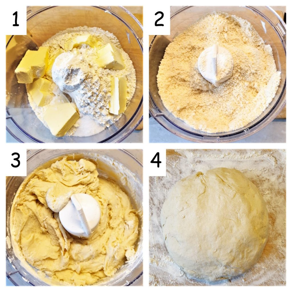Collage of 4 images showing steps for making pasty.