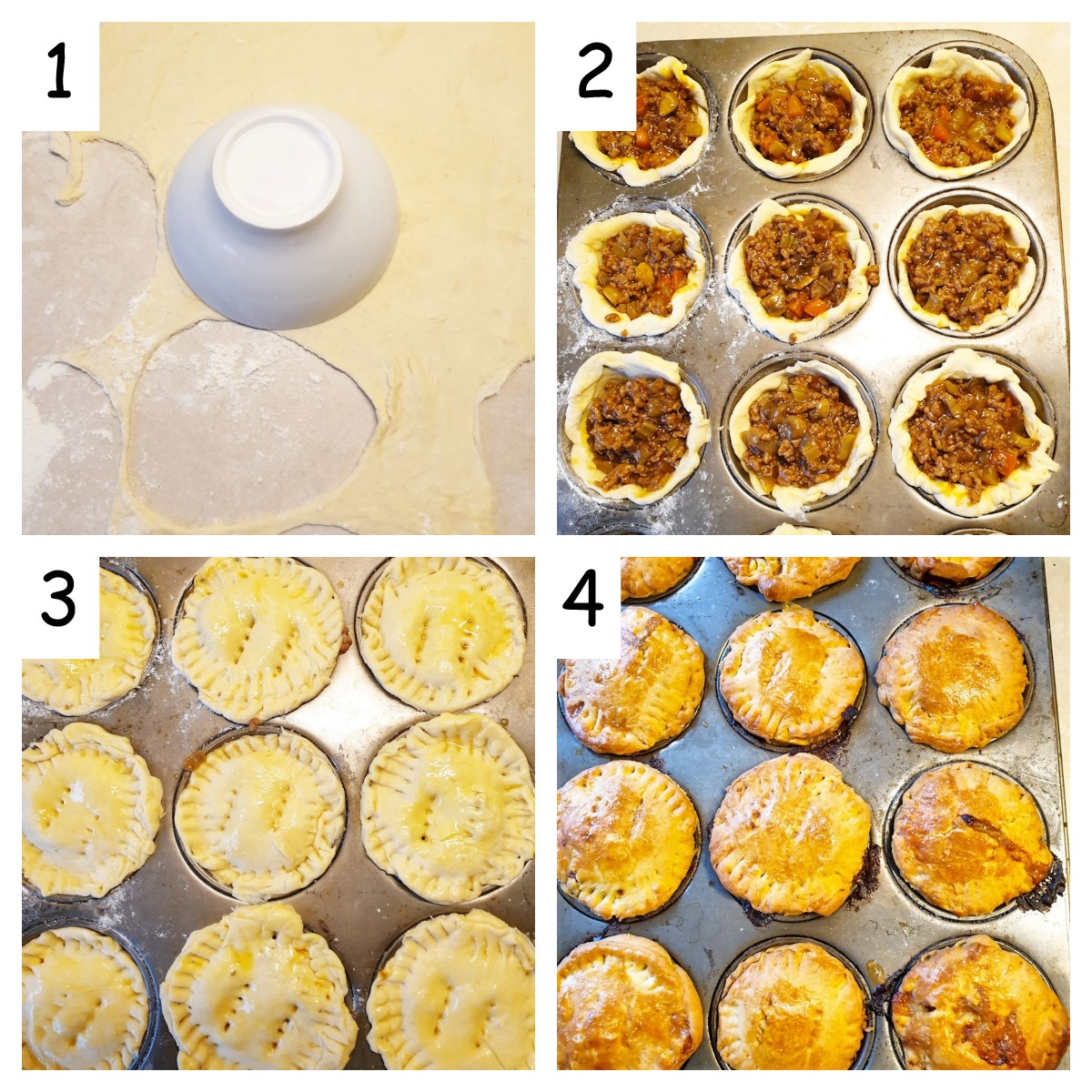 Collage of 4 images showing steps for rolling the pastry and filling the muffin tins.