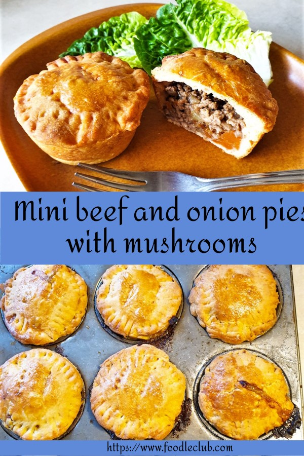 Pinterest image for mini beef and onion pies.