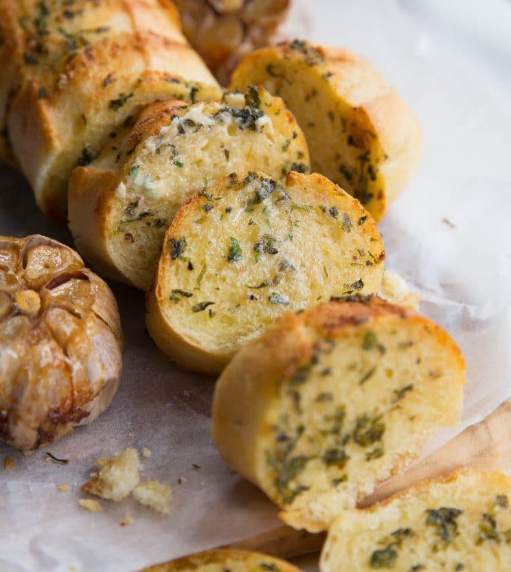 Slices of roasted garlic bread