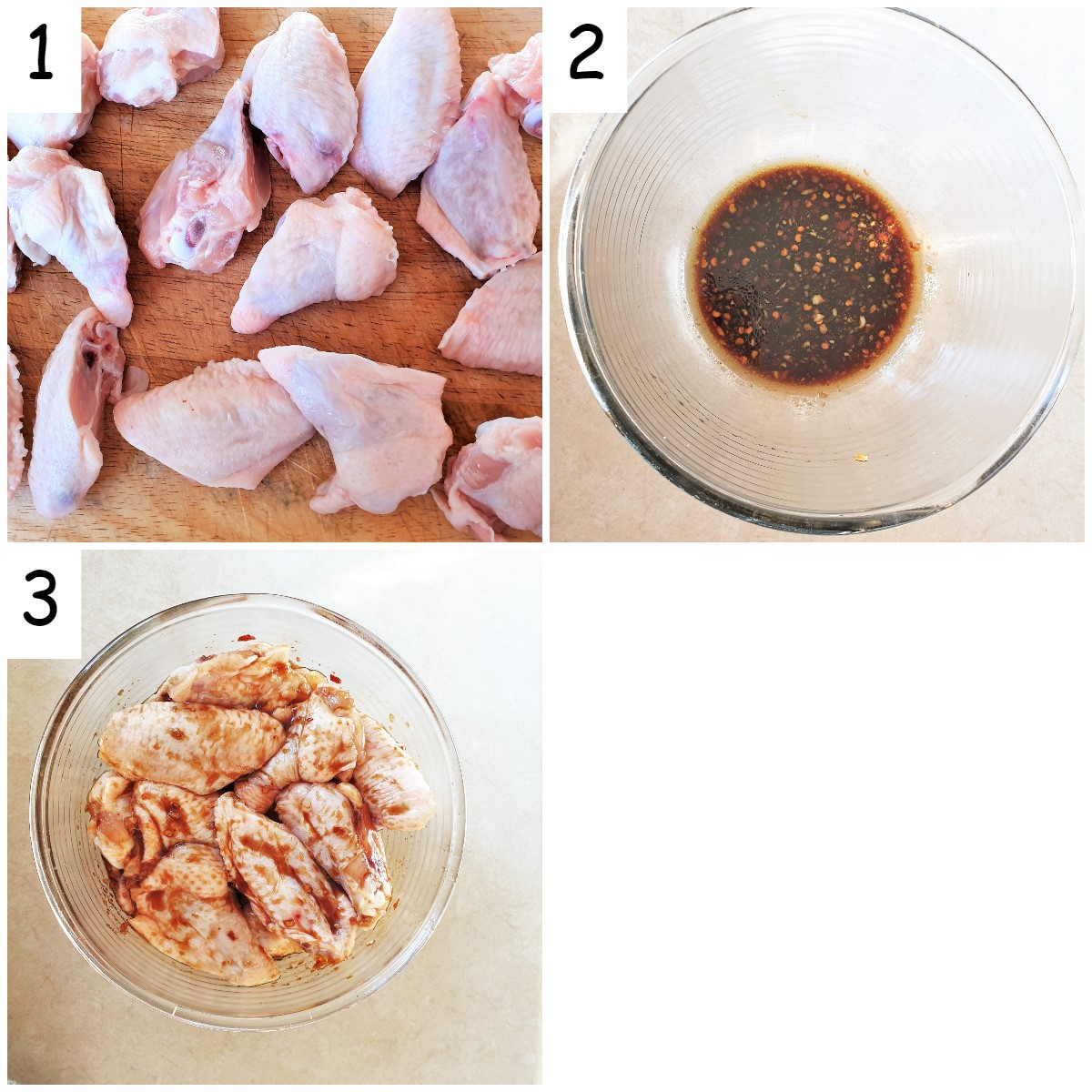 Steps for cutting and marinating sticky chicken wings.