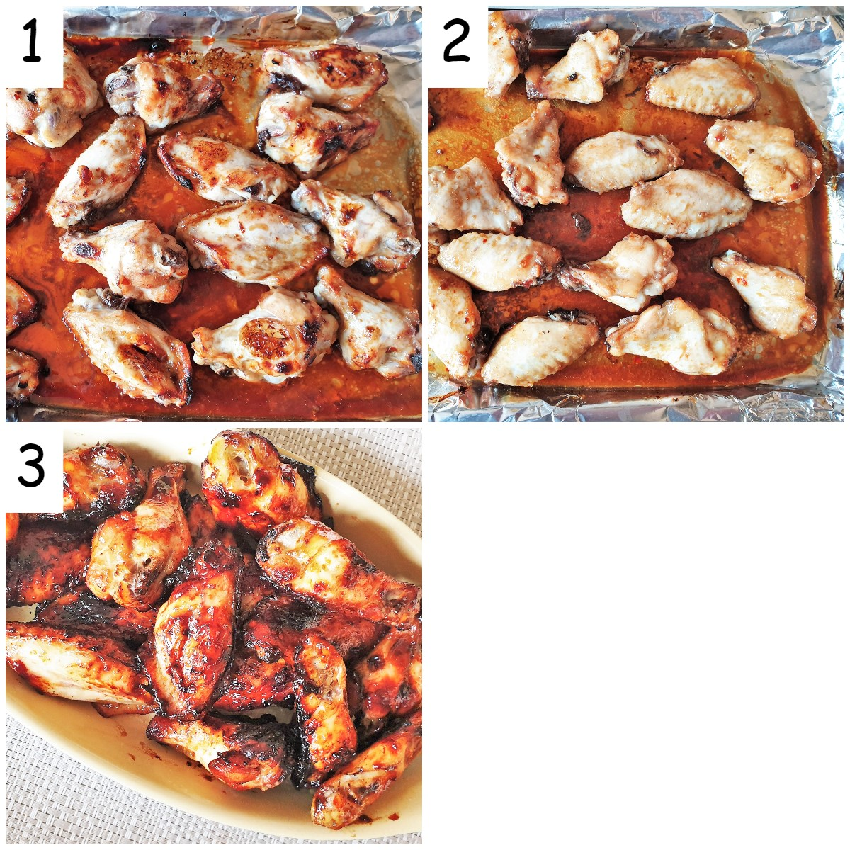 Steps for baking sticky chicken wings.