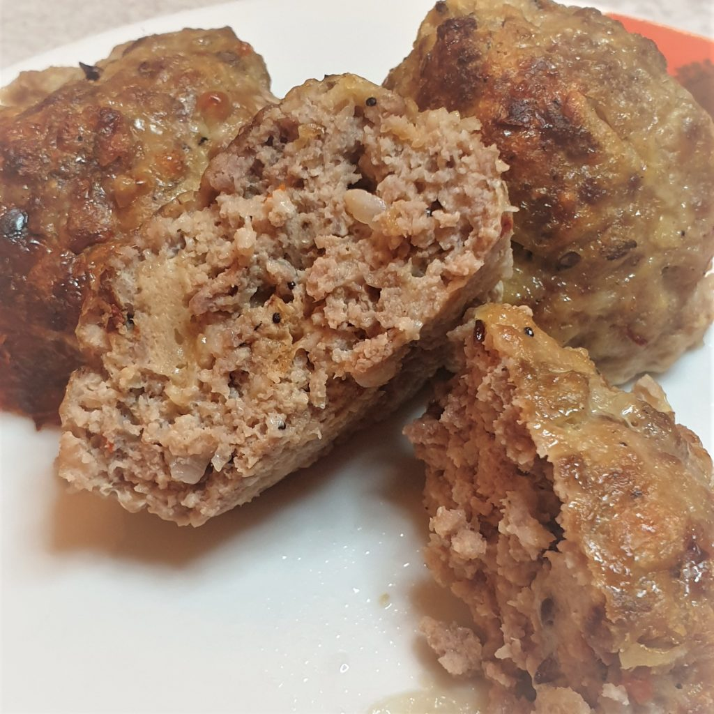 Juicy spicy meatballs made with pork and beef