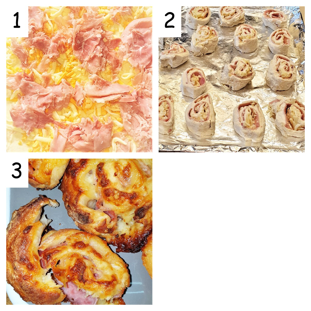 Collage showing how to fill and roll ham and cheese pinwheels.