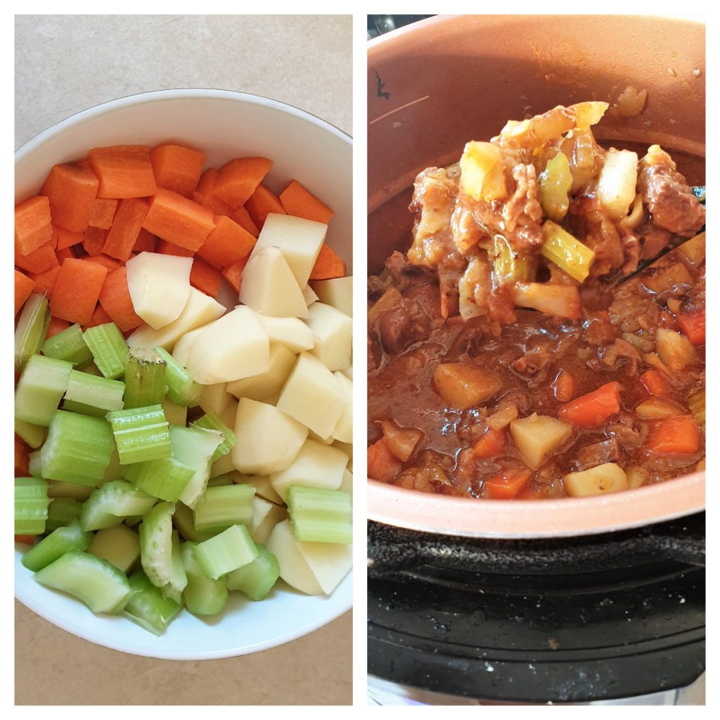 Carrots, celery and potatoes being added to homemade steak and kidney pie filling.