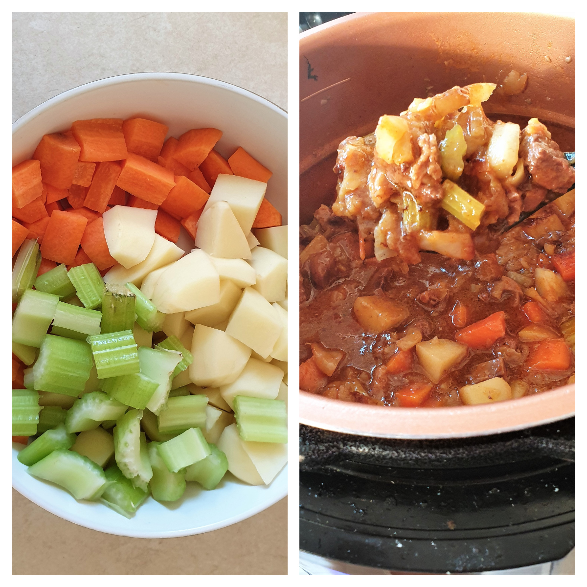 Carrots, celery and potatoes being added to steak and kidney pie filling.