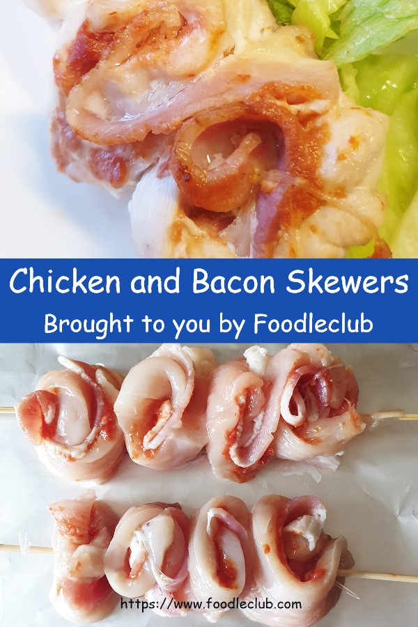 Chicken and bacon skewers - image for pinterest.