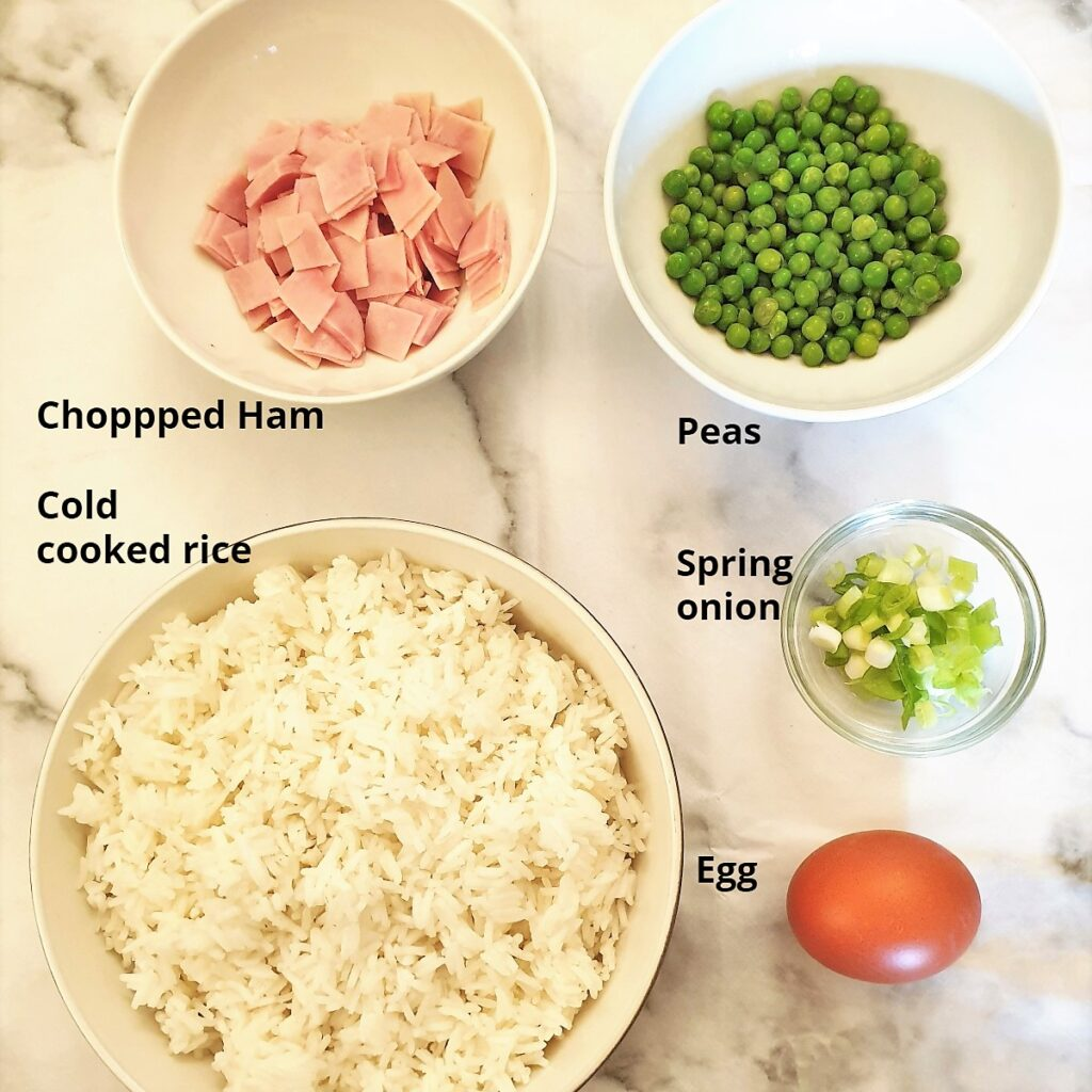 Ingredients for egg fried rice.