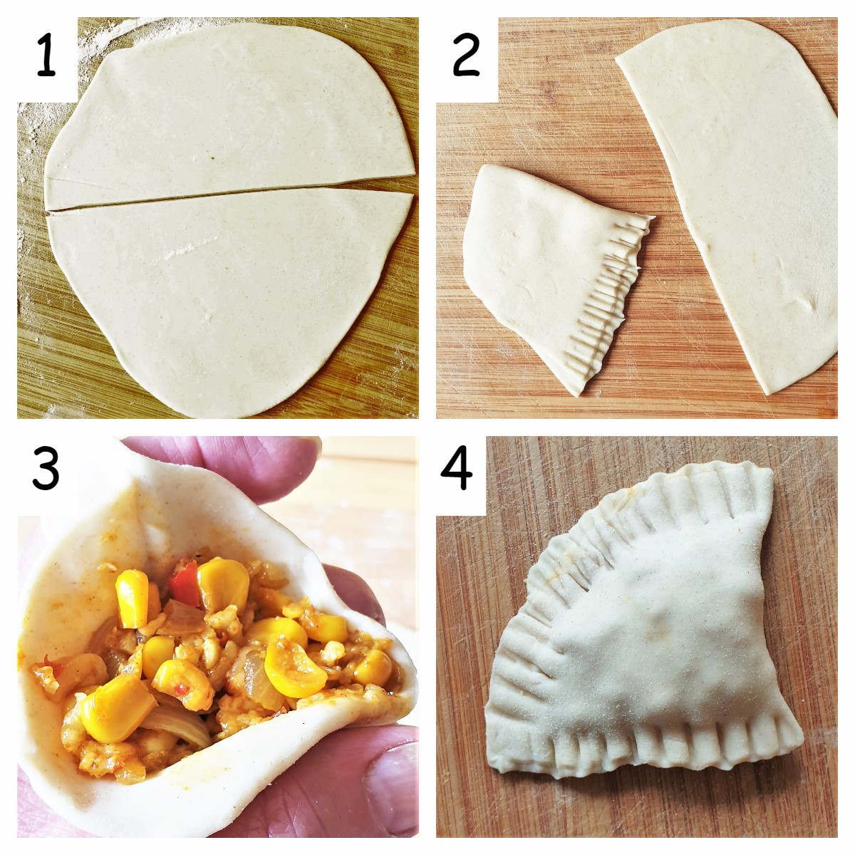 Collage of 4 images showing steps for folding samosas with homemade pastry.