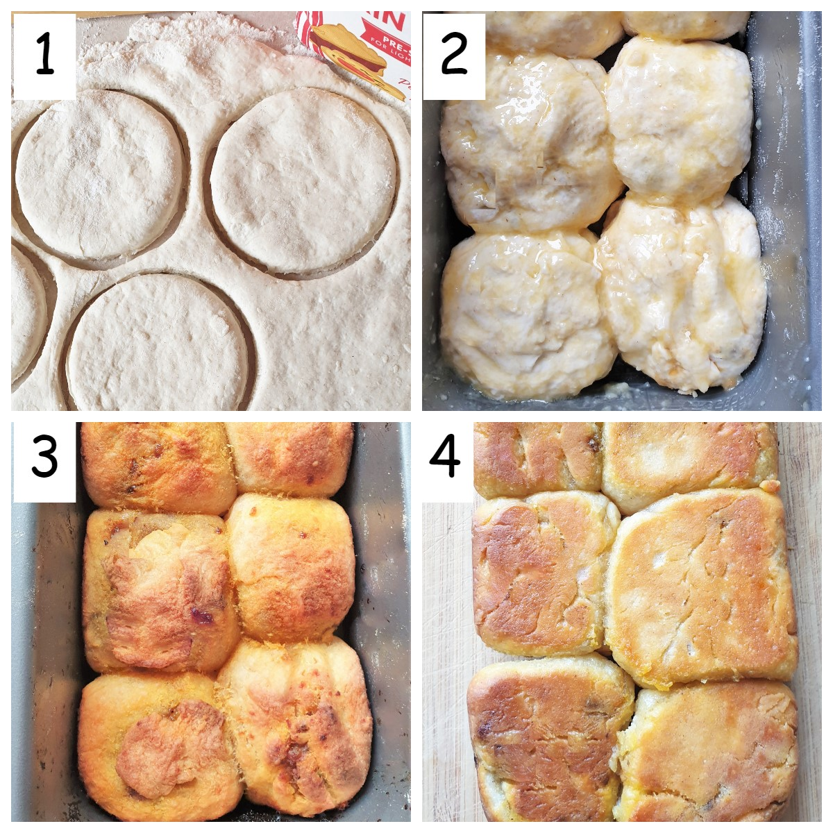Collage of 4 images showing how to bake the dough balls.