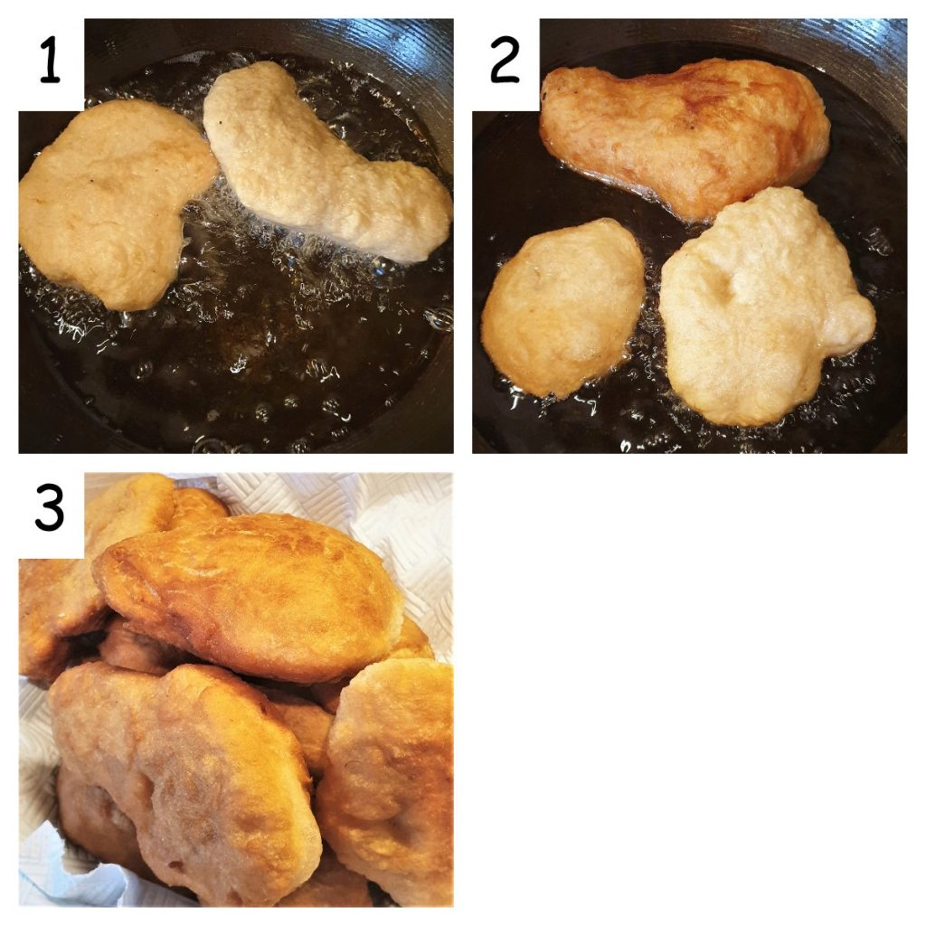 Collage, showing vetkoek being fried.