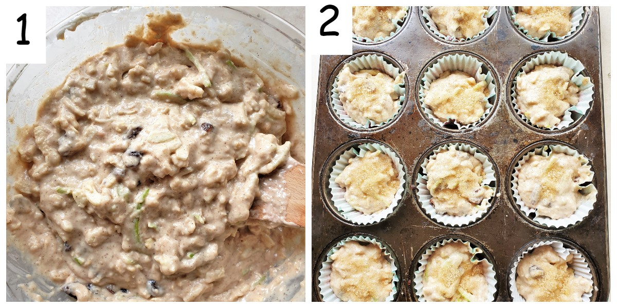 2 images showing a baking sheet with apple and oat muffins before being baked.