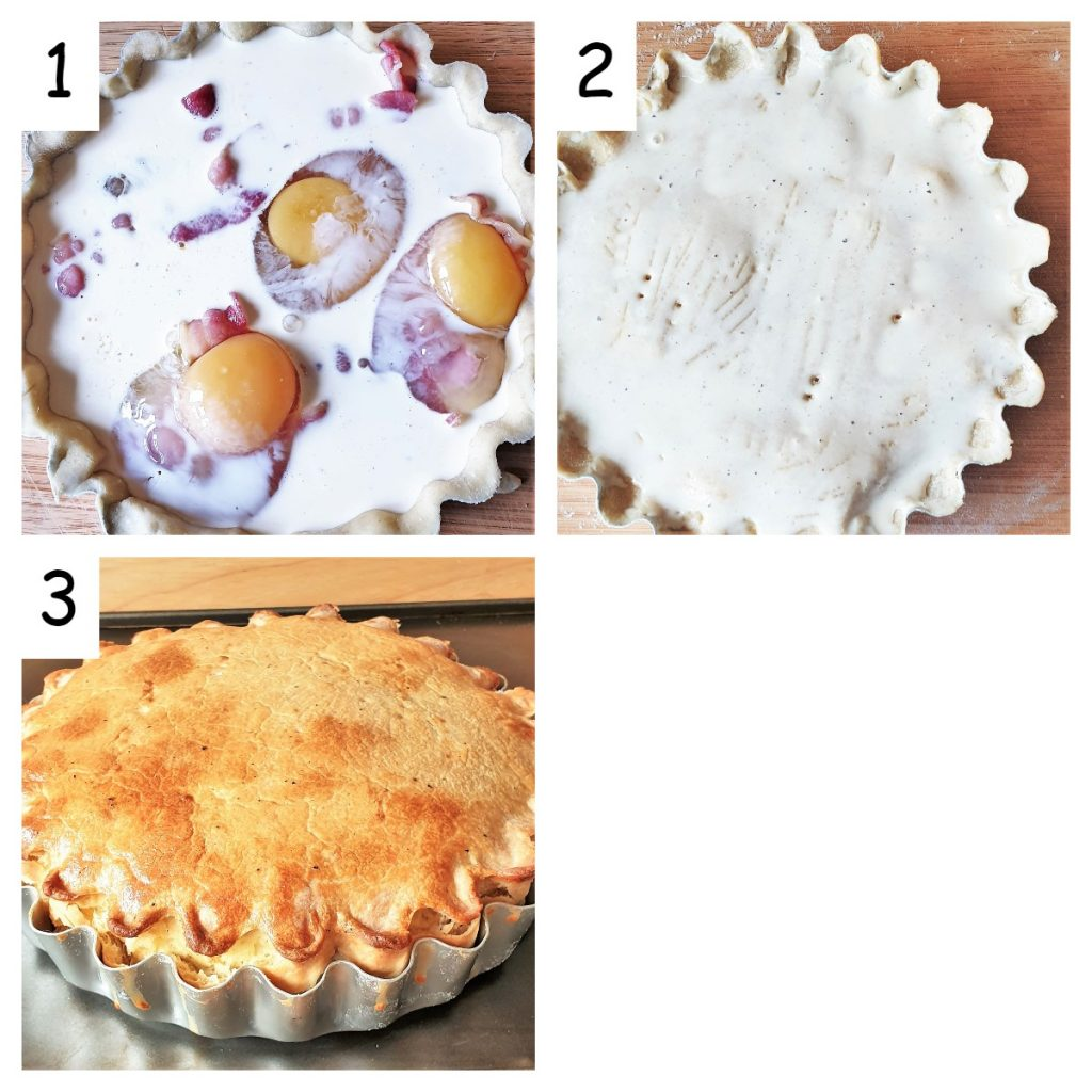 collage of 3 images showing how to assemble the bacon and egg pie.