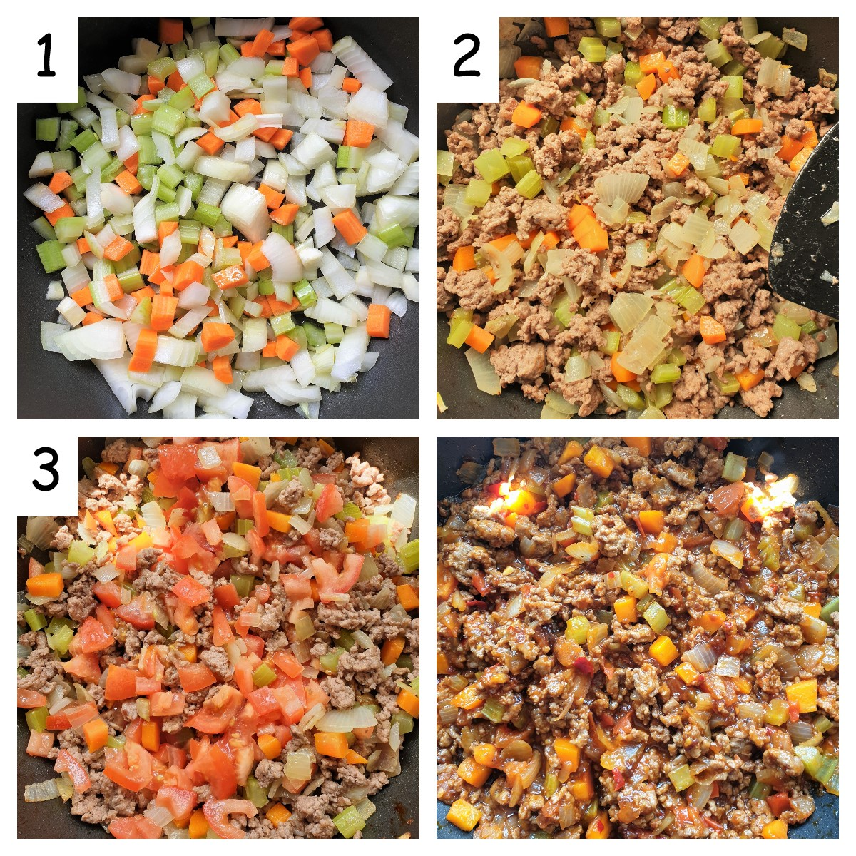 Collage showing the steps for making the meat sauce.