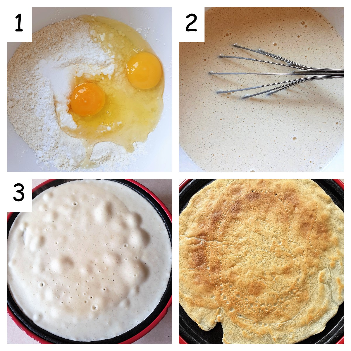 Collage showing steps for making crepes