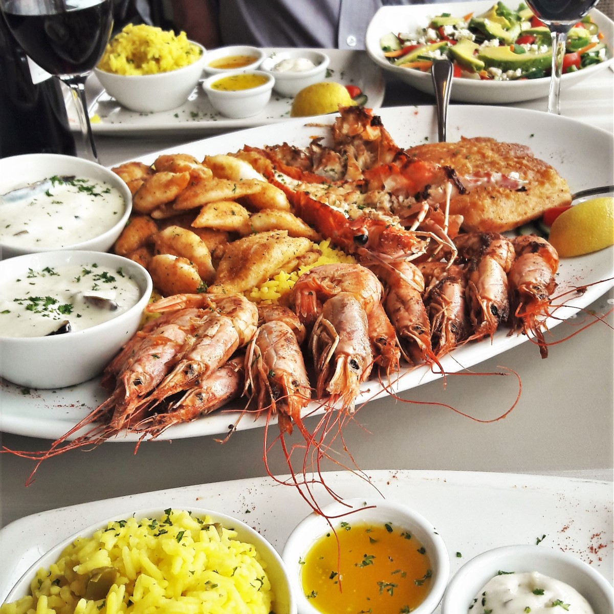 A sharing platter of seafood.
