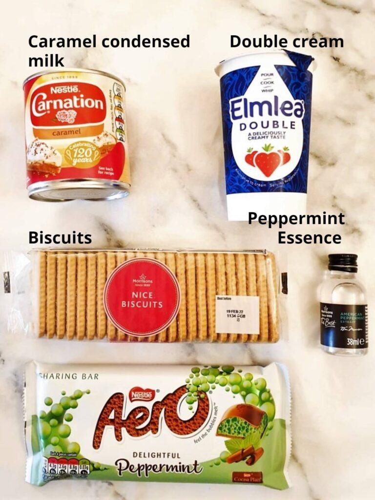 Ingredients for peppermint crisp fridge tart.