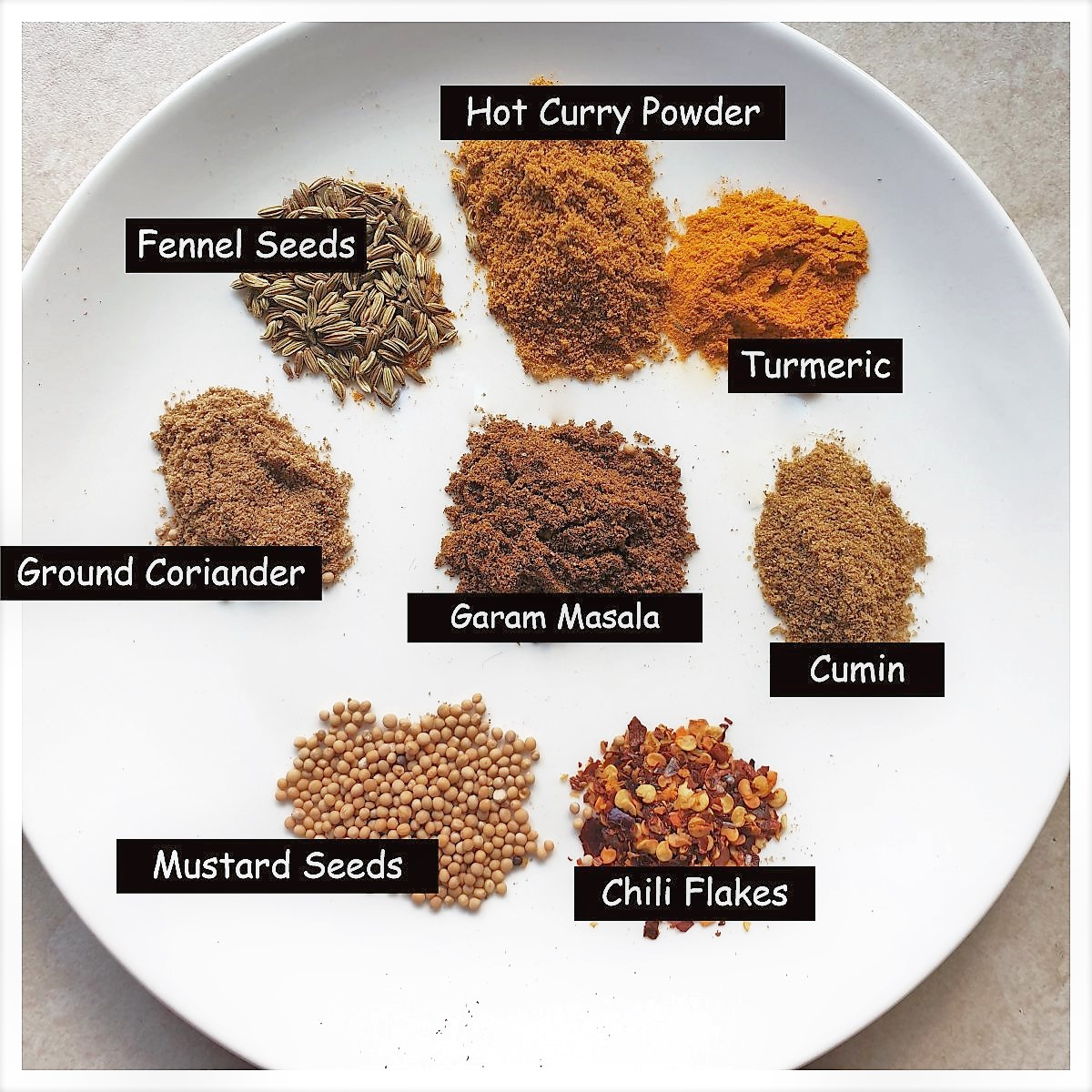 A plate of spices for easy lamb curry.