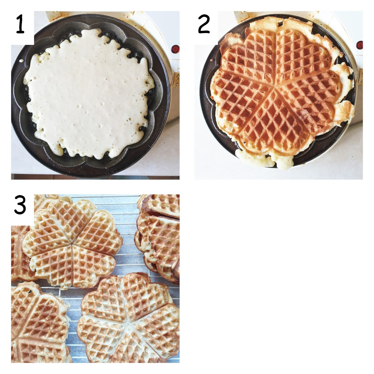 Collage of 3 images showing how to fry waffles.