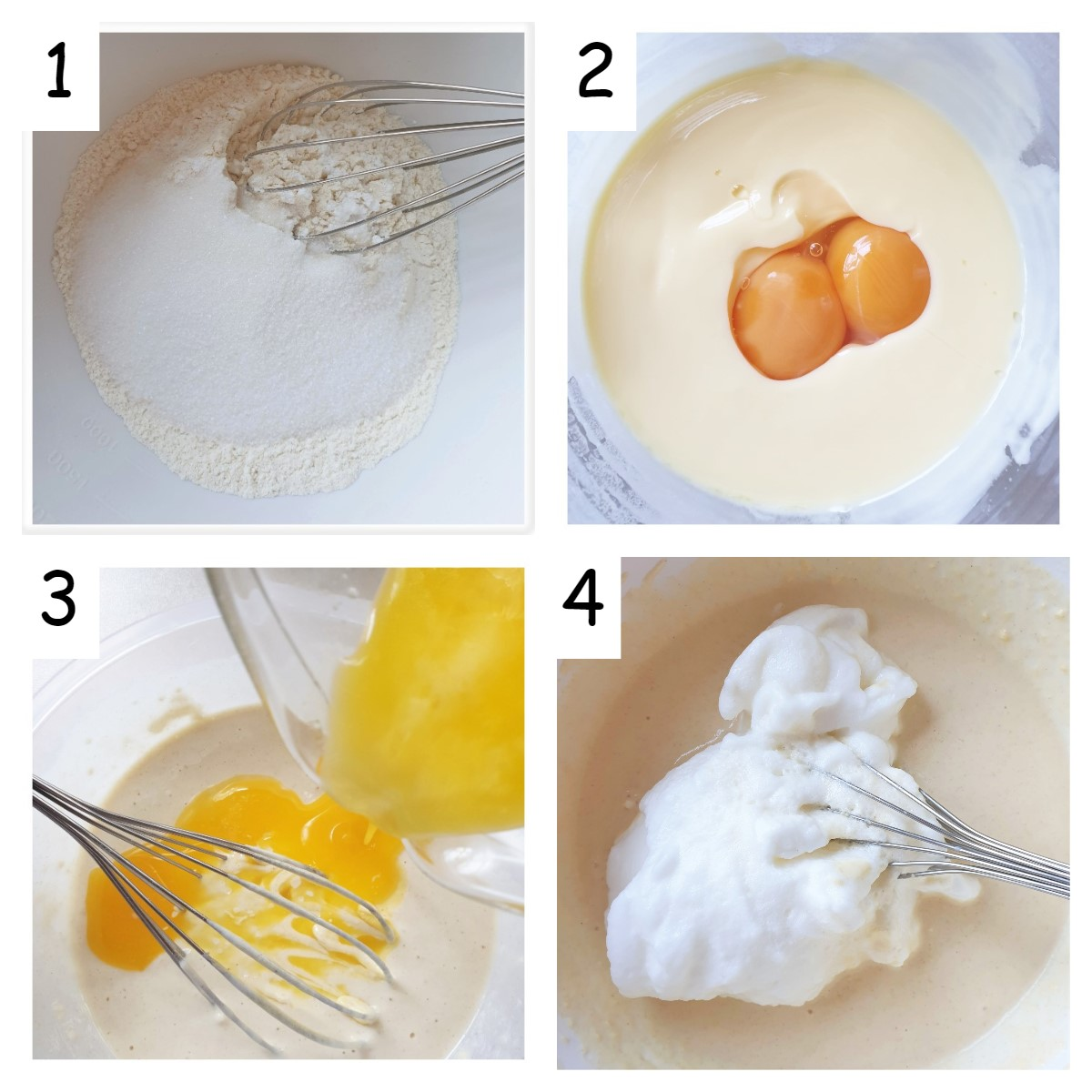 Collage of 4 images showing how to mix waffles.