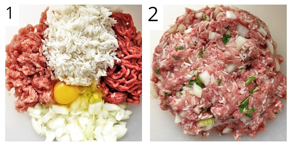 Two images showing meatballs being mixed.