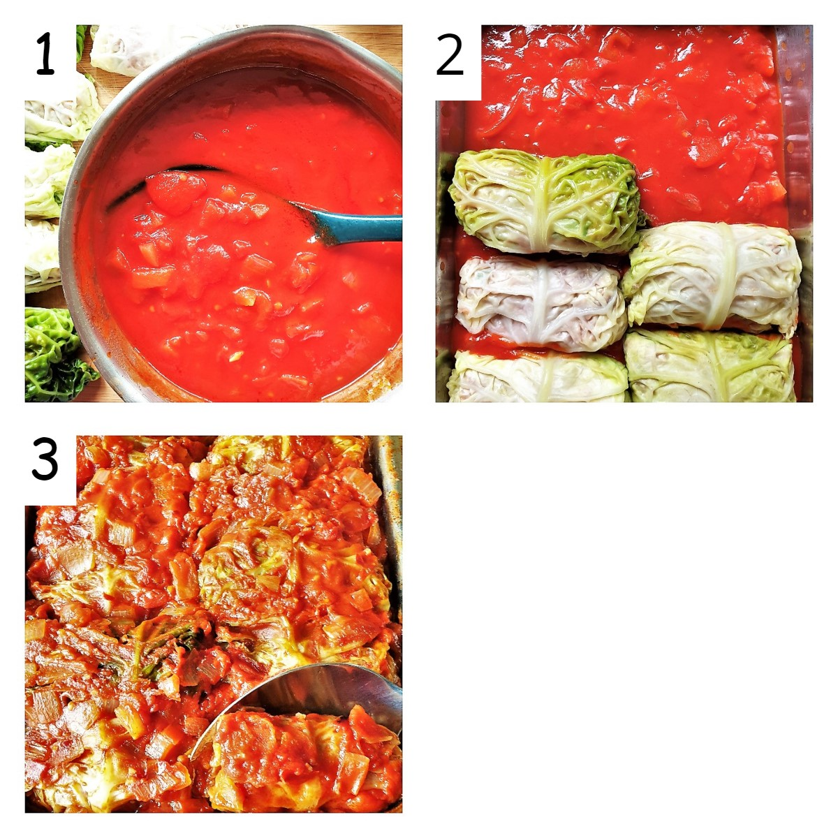 Collage of 3 images showing steps for baking stuffed cabbage rolls.