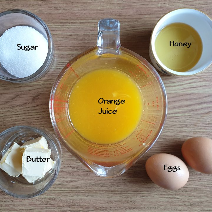Ingredients for homemade orange curd.