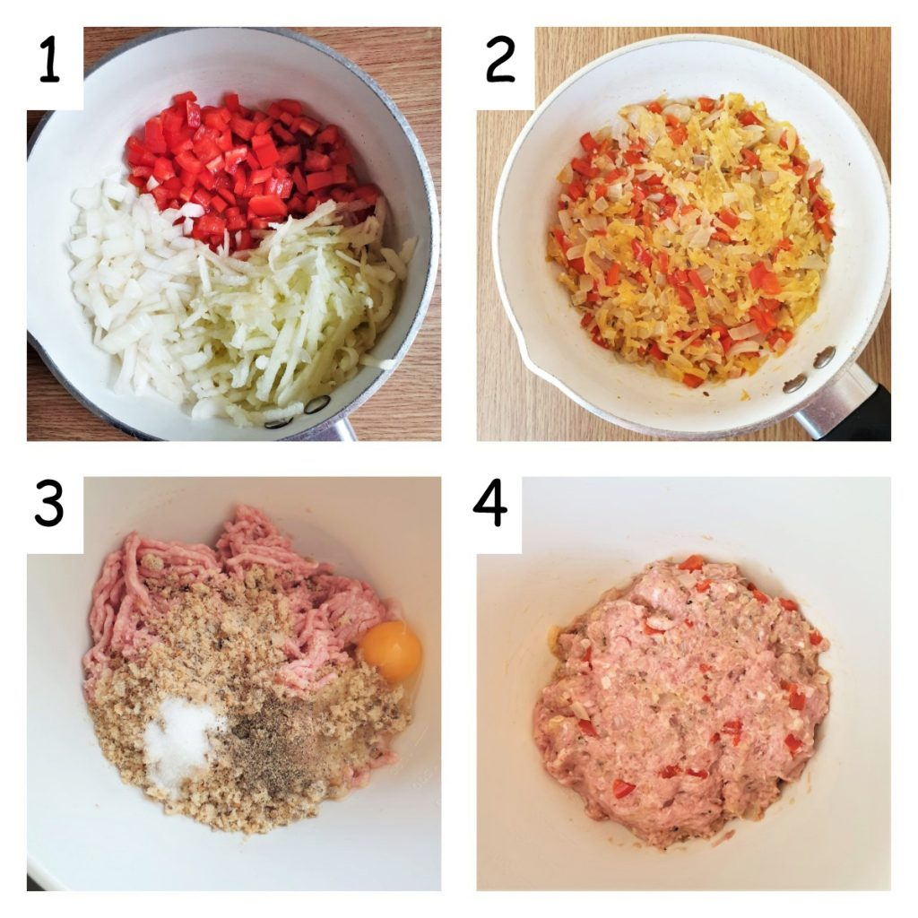 Collage of 4 images showing how to mix the filling for the sausage rolls.