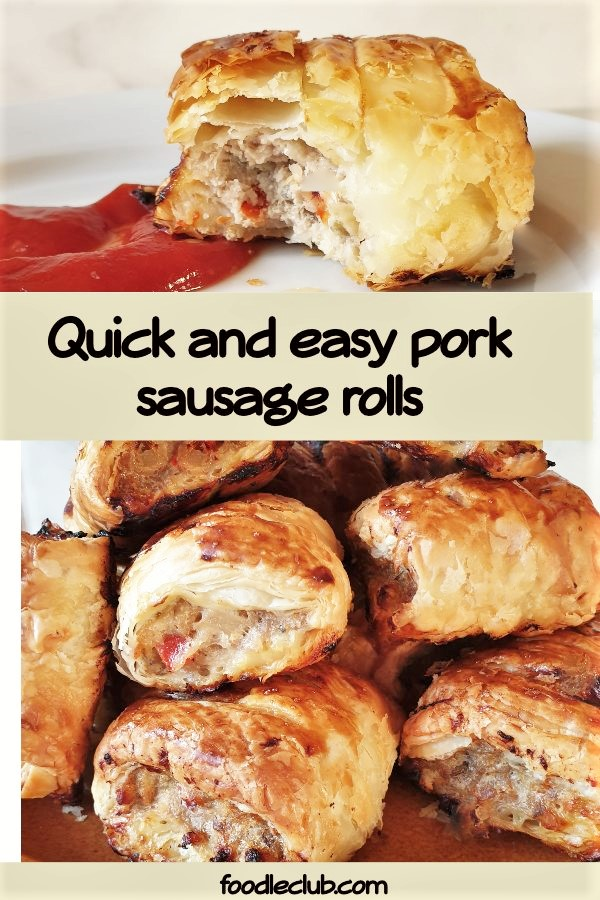A pile of pork and apple sausage rolls.