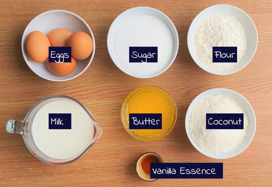 Ingredients for coconut pie