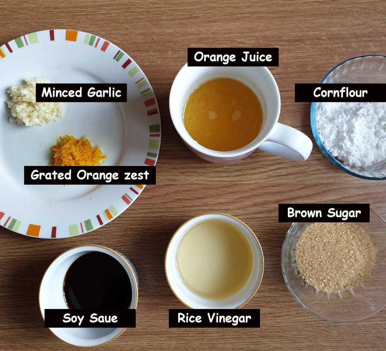 Ingredients for sticky orange chicken