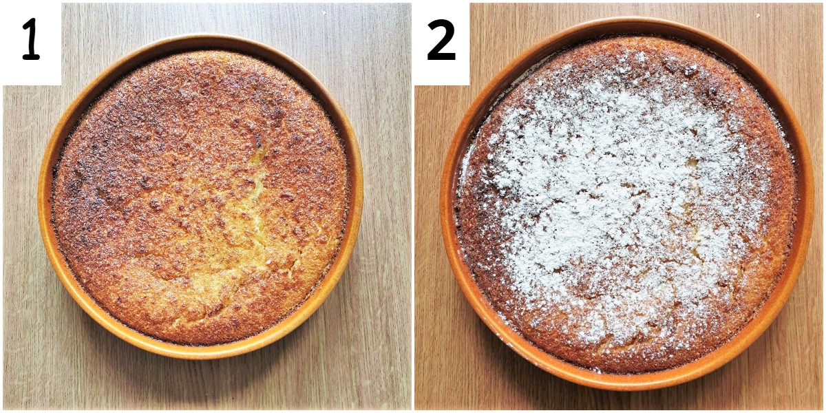 Two images showing the finished pie.