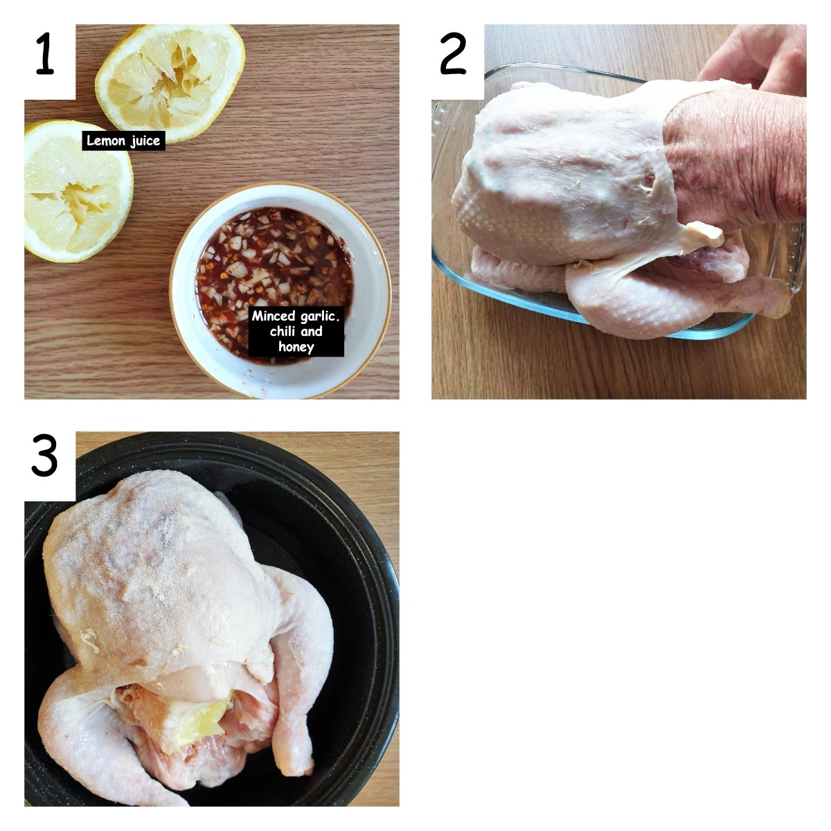 Collage of 3 images showing marinade being rubbed beneath the skin of the chicken.