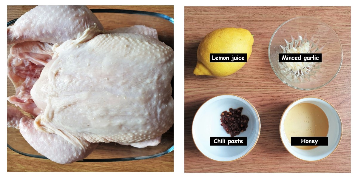 2 images showing a raw chicken and a lemon with dishes of garlic and chili.