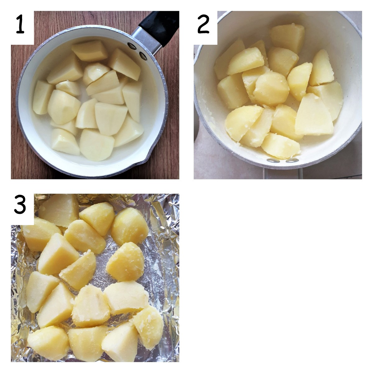 Collage of 3 images showing the stages of making crispy roast potatoes.