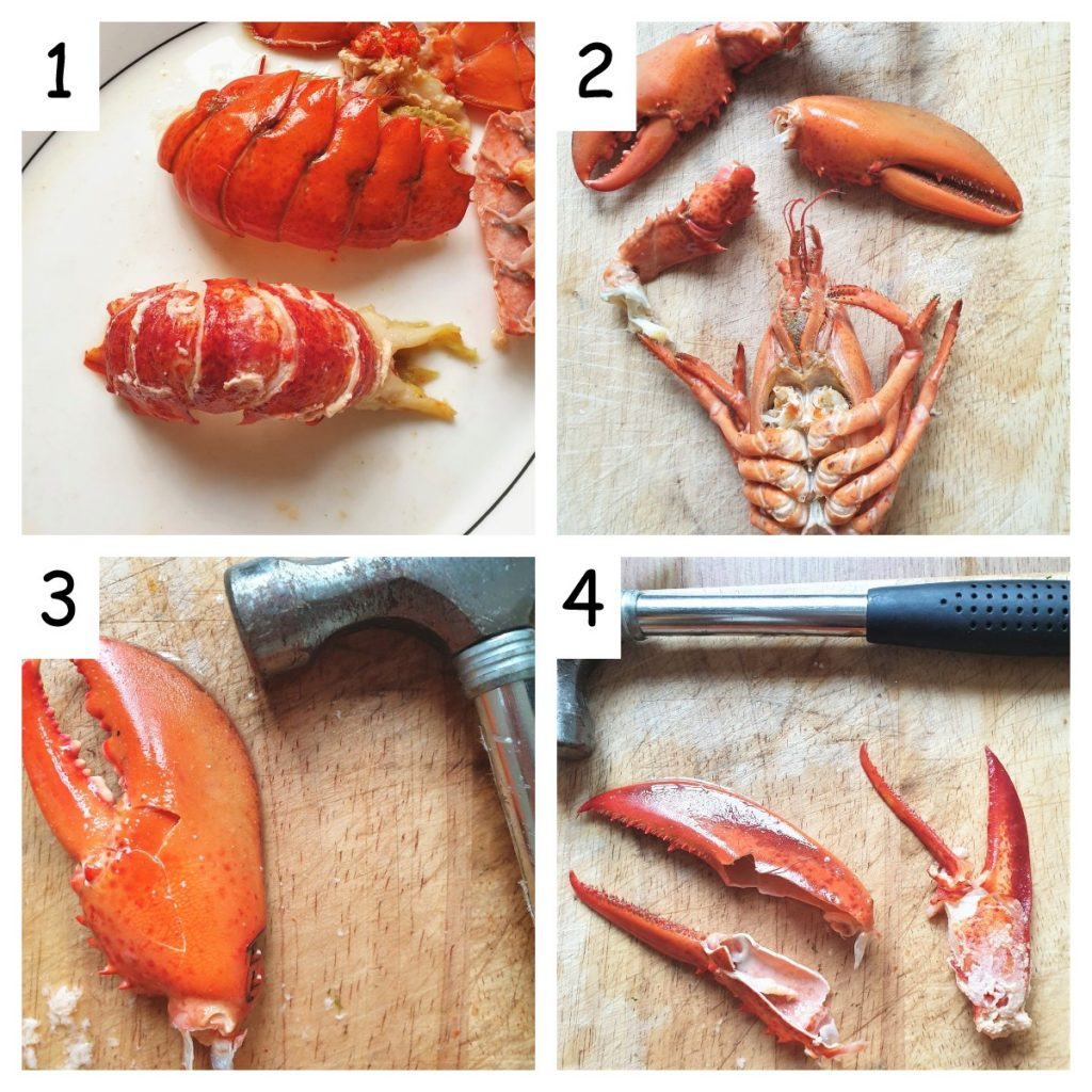 Collage of 4 images showing how to remove meat from the lobster claws.