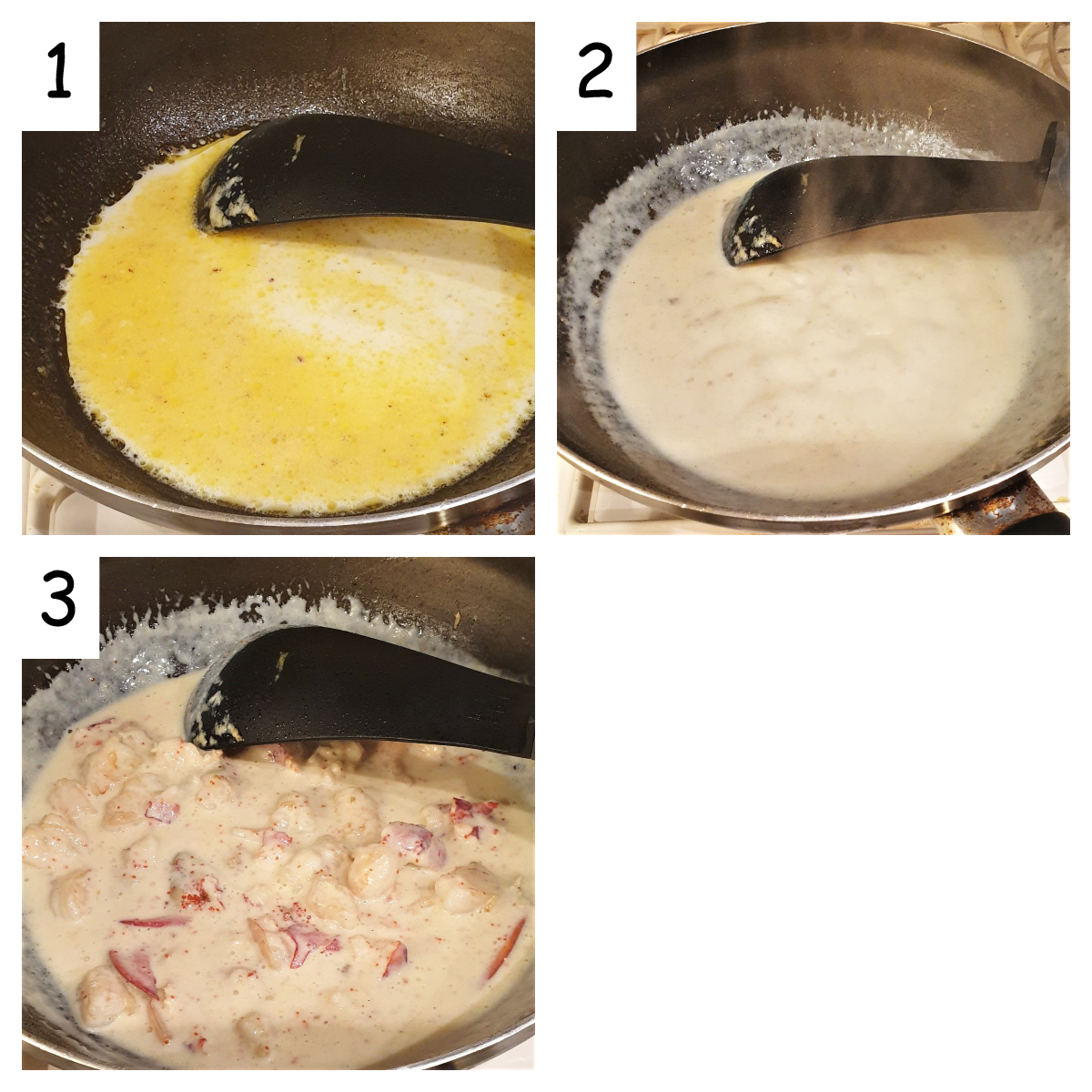 Collage of 3 images showing how to make the creamy sauce.