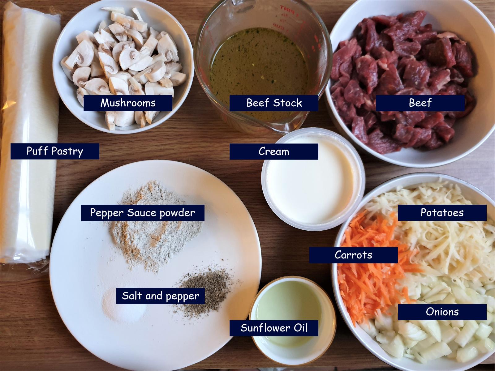 Ingredients for beef pot pies