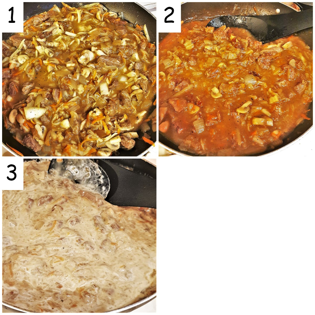 Collage of 3 images showing how to thicken the beef filling with cream.