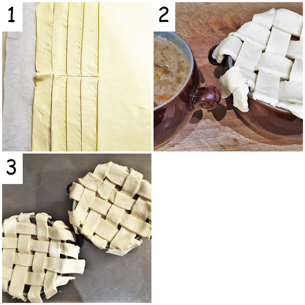 Collage of 3 images showing the pot pies being topped with pastry.