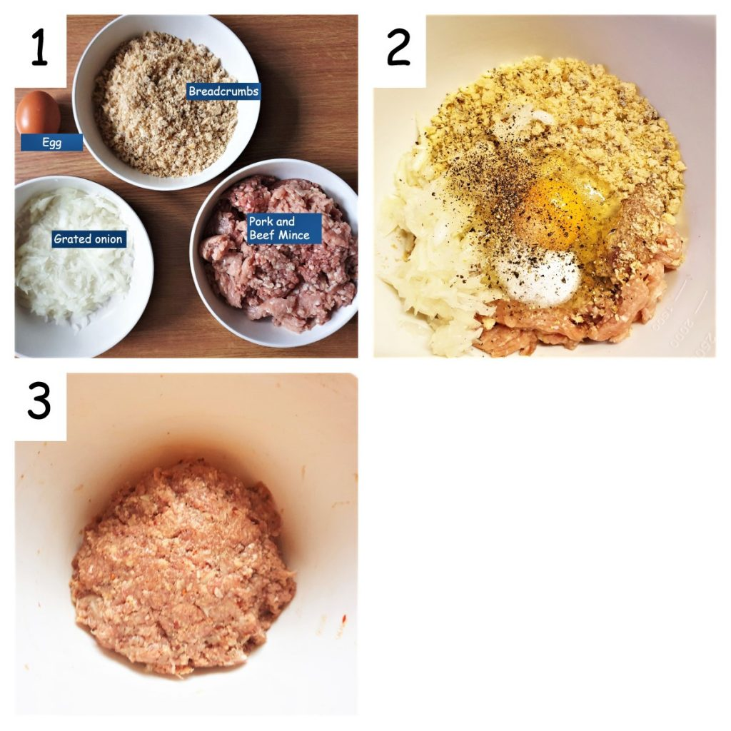 Collage showing steps to mix meatloaf.