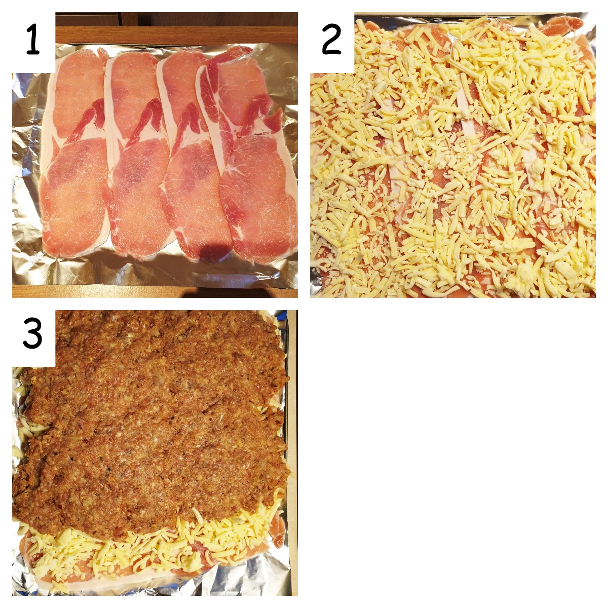 Collage showing meatloaf being rolled in cheese and bacon.