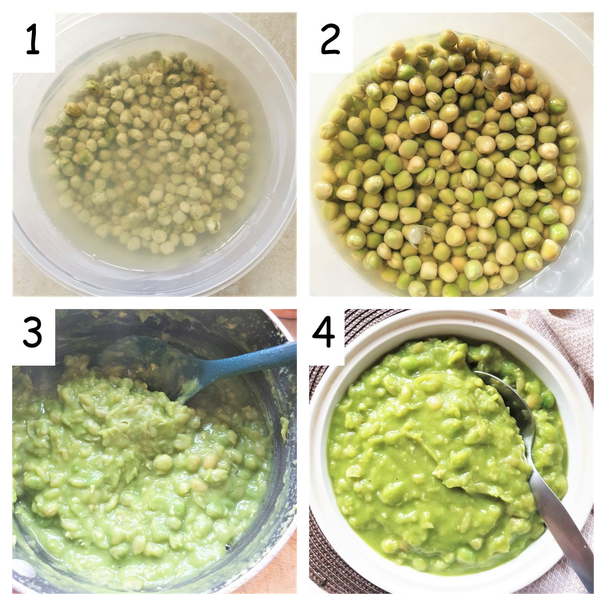 Collage of 4 images showing steps for making british mushy peas.
