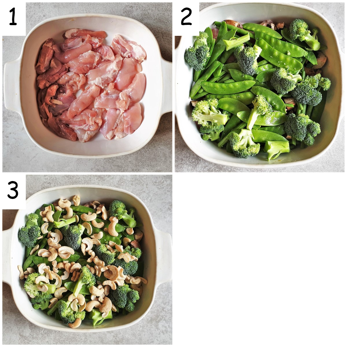 Collage of 3 images showing steps for assembling cashew chicken.
