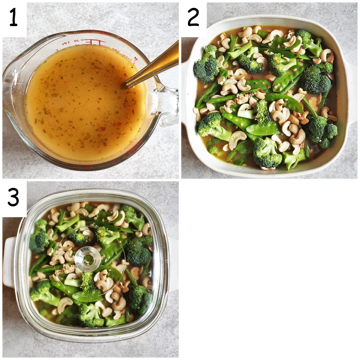 Collage of 3 images showing sauce being added to cashew chicken before it is baked.