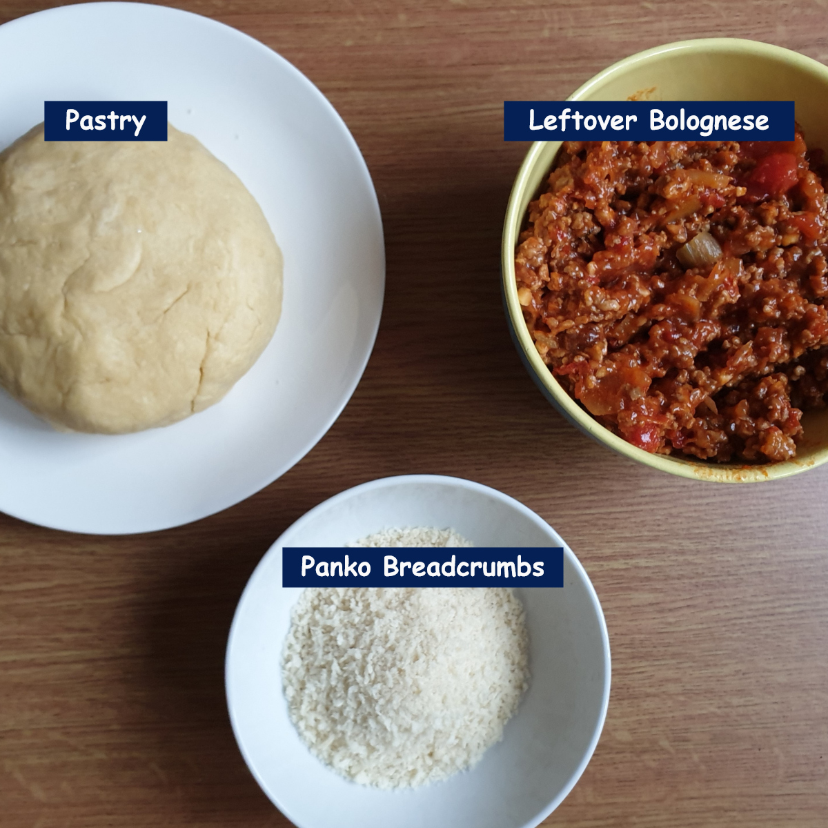 Ingredients for bolognese sausage rolls.