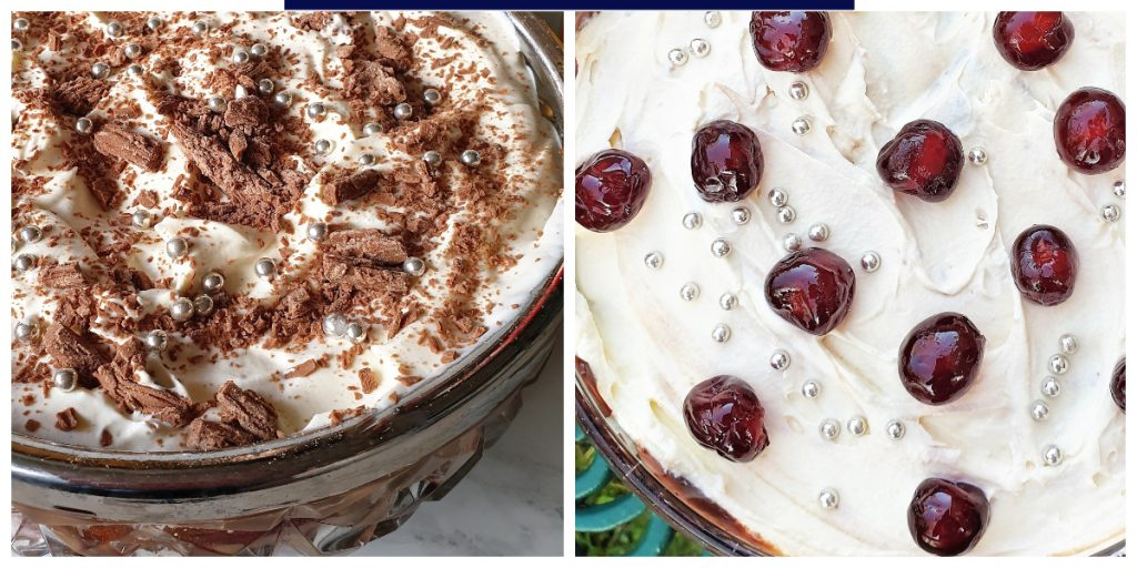 2 bowls of black forest trifle, decorated with chocolate flakes and cherries.