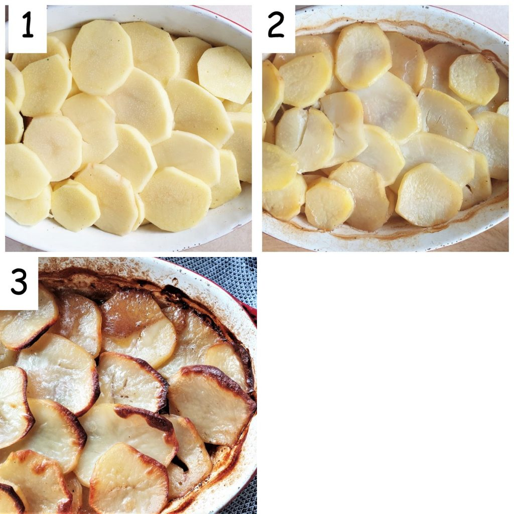 Collage of 3 images showing how to brown the potatoes.